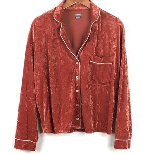 Aerie Velour Pajama Top Shirt M Button Down Velvet